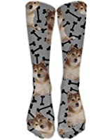 ThunderSocks Men&Women Shiba Inu Dogs Doggies Bones All Sport Stocking Socks Athletic Sock Shoe Size 6-10 One Size