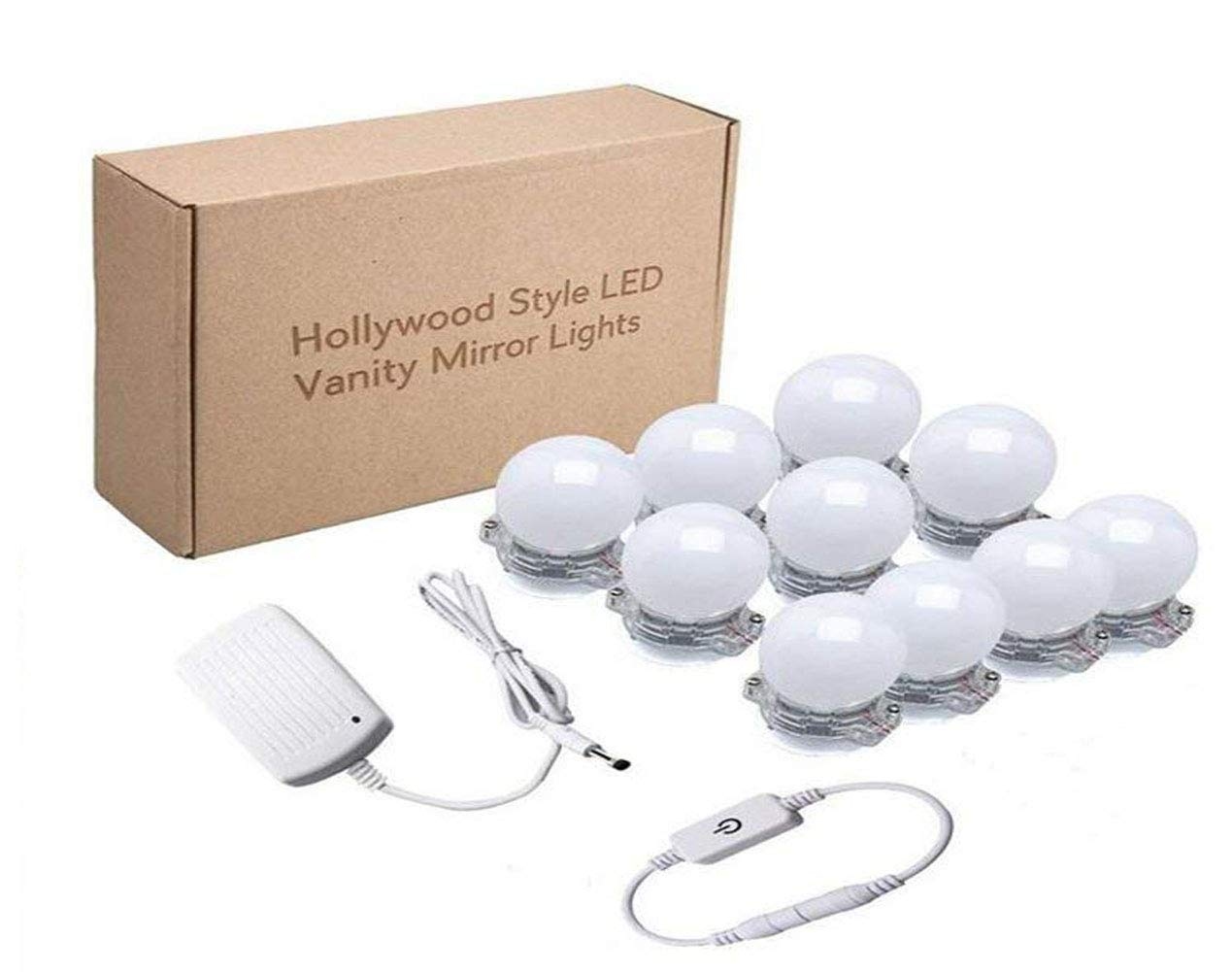 Vanity Lights Hollywood Style LED Mirror Lights Kits with 10 Dimmable Light Bulbs, 2018 Big Promotion,Lighting Fixture Strip for Makeup Vanity Table in Dressing Room (Mirror Not Include)