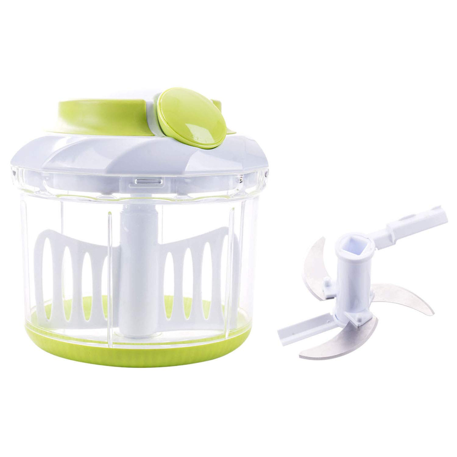 Smile mom Pull Food Chopper with Mincer Chopper Blades&Plastic Mixer Blender to Chop Vegetable Fruit Meat Nut Onion Carrot Cucumber Potato Egg for Salad-4 Cup Food Processor