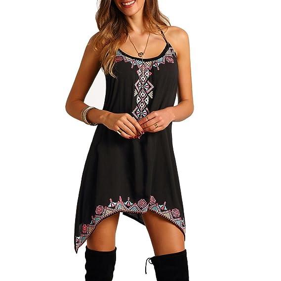 vestidos de mujer,Switchali Mujer verano elegantes Casual bohemios Sin mangas floral Fiesta Nocturna playa
