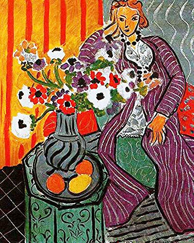 Handpainted Reproduction Henri Matisse 95X120 cm (Approx. 38X48 inch) - Purple Robe and Anemones 1937 Figure Paintings Canvas Wall Art Fauves (Wild Beasts) Poster Rolled