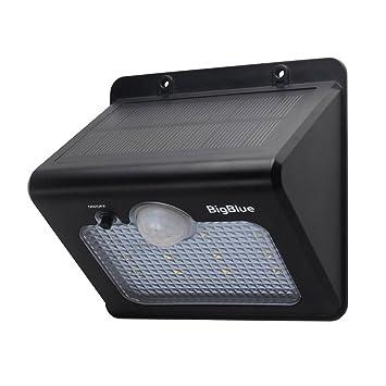 BigBlue Luz Nocturna Solares con Sensor de Movimiento Lámparas Solares 12 LED Luz Solar 220 Lúmenes