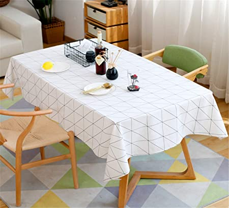 SONGHJ Moderno Cuadrado A Cuadros Blanco Y Negro Impermeable Tabla Ropa Paño Algodón Lino Mesa de Centro Mantel Manteles Mantel Blanco 110x170cm: Amazon.es: Hogar