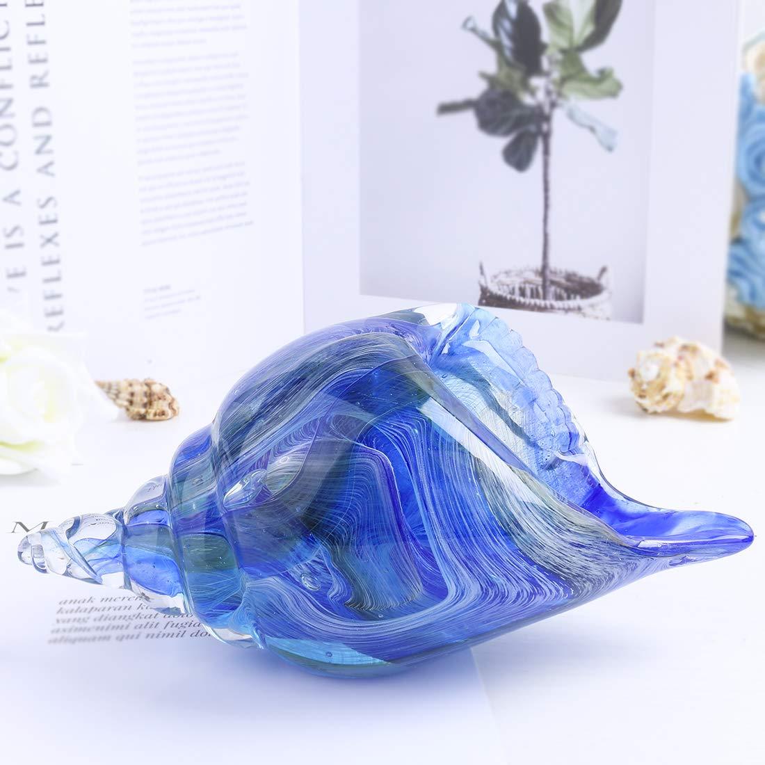 H&D Briefbeschwerer aus Glas, handgeblasen, Blau Seashell, 21 21 21  9.5cm  8.2  3.7in B07MM8MGQD | Good Design  8af354