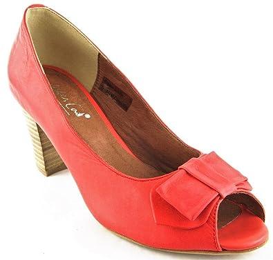 Andrea Conti Schuhe Pumps High Heels Echt Leder Rot 2136