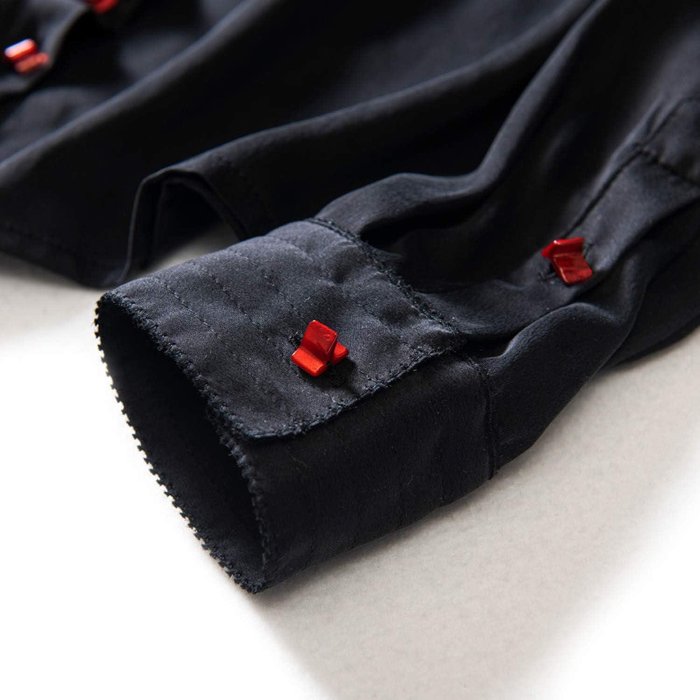 Xcxdx Camisa De Manga Larga Elegante Color Liso, Top Damas Seda Primavera, Blusa Black