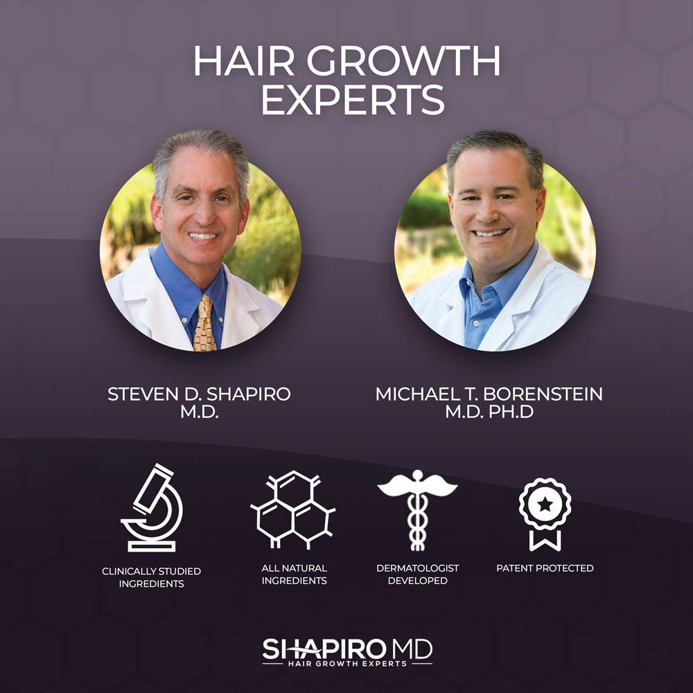 Hair Loss Shampoo | All-Natural DHT Blockers for Thinning Hair Developed by Dermatologists | Experience Healthier, Fuller and Thicker Looking Hair - Shapiro MD | 2-Month Hair Shampoo Supply by Shapiro MD Hair Growth Experts