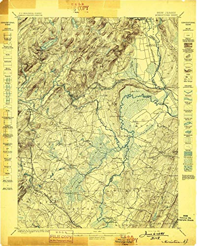 YellowMaps Morristown NJ topo map, 1:62500 Scale, 15 X 15 Minute, Historical, 1898, Updated 1898, 20.4 x 16.7 in - Tyvek -