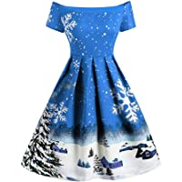Off Shoulder Christmas Dresses for Women, Womens 50s Vintage High Waist Short Sleeve A-Line Party Cocktail Evening Swing Dress Xmas Costume for Ladies