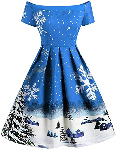 Hotkey Womens Ugly Christmas Xmas Dress Long Sleeve Casual Aline Party Dress Round Neck Cocktail Evening Party Swing Dress