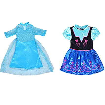 47aa21ae5da73 ebuddy Ice and Snow Sparkle Princess Dress Clothes Fits 18 inch Dolls  Includes American Girl,Journey Girl (New-Elsa+Anna Sets)