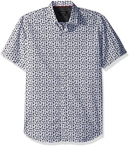 - Bugatchi Men's Shaped Fit White Daisies Print Short Sleeve Shirt, Black, L