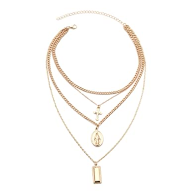 d7991b3894c Amazon.com: Beydodo Triple Layer Necklace Gold Y Necklace Choker Cross  Square Round Chian Necklace: Jewelry