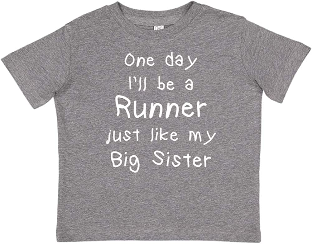 Toddler//Kids Short Sleeve T-Shirt One Day Ill Be A Runner Just Like My Big Sister
