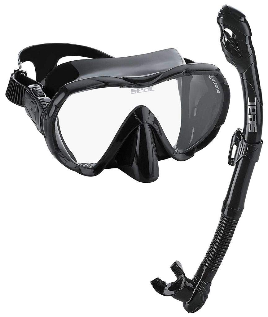 SEAC Frameless Snorkel Set for Men and Women | Comfortable Adjustable, Frameless Mask Made from Clear Tempered Glass | Dry Snorkel with Bottom Purge Valve | Snorkeling and Freediving Gear - All Black