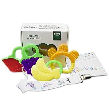 Dentición juguetes tinabless bebé silicona Mordedor anillo sin BPA ...