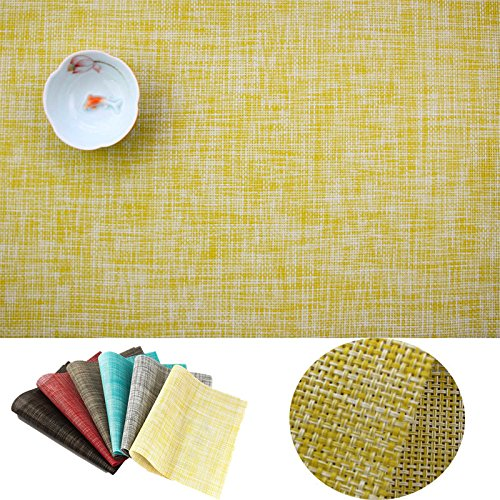 IMIYOKU Placemat, MiniBasketweave Woven Vinyl Non-slip Insulation Placemat Washable Table Mats (4, Yellow)