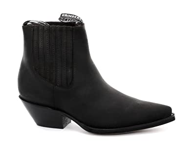 Grinders Mustang Black Real Leather Cowboy Boot Slip On Cuban Heel Chelsea Boots