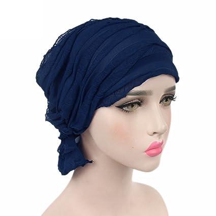 Kangcheng para Mujer para Mujer con Volantes Chemo Hat Beanie Bufanda Turban Headwear Turbante musulmán Headwear