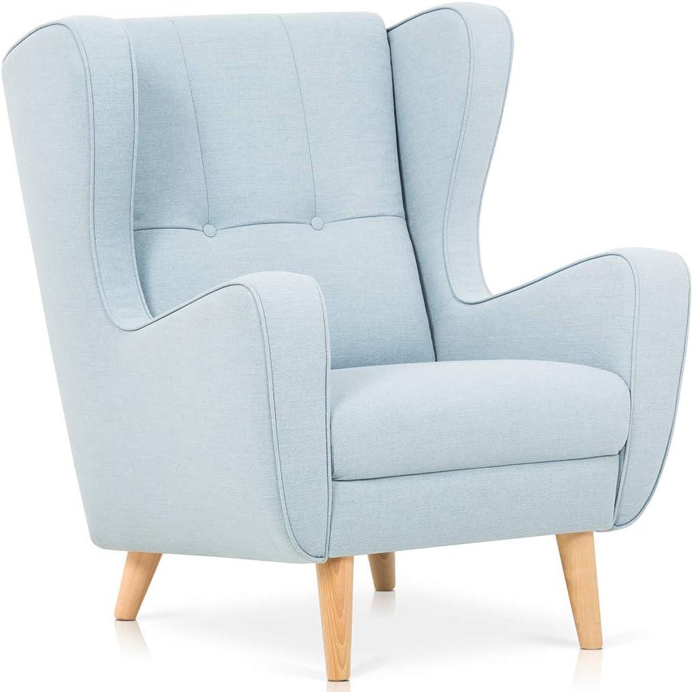 Sillon Relax Sillon Orejero Butaca Sillon Lactancia Materna Lectura Salón o Dormitorio (Azul)