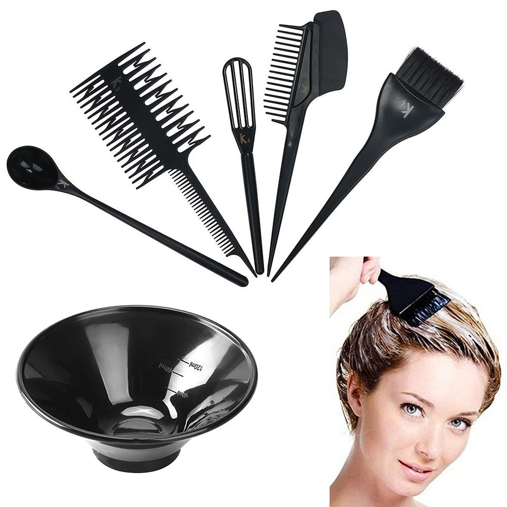MissLytton Hair Dye Color Tool Kit, Professional Hair Highlighting Coloring Dyeing Kit, Includes Hair Color Mixing Bowl, Applicator Tint Brush Comb Set for Salon and Home Use (Set of 6) by MissLytton