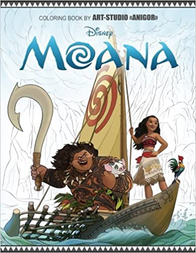 Amazon Moana Coloring Book For Kids And Adults Disney Gorgeous Artistic Illustrations 9781542363464 Art Studio Anigor Books