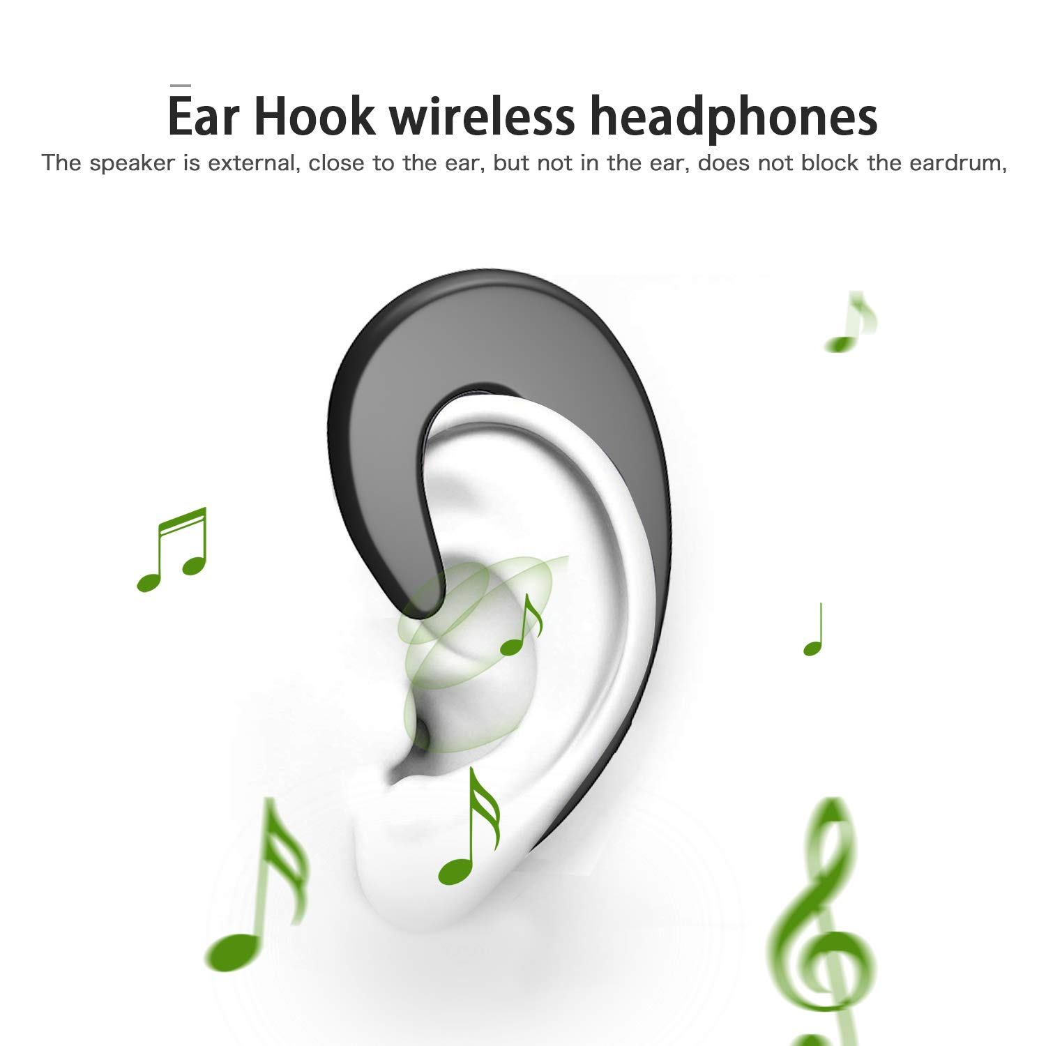 Wireless Bluetooth Earbud Sport Earphone Invisible Single Ear-Hook Bluetooth Headset Earpiece with Mic Noise Cancelling 6-Hour Play Time Business Headphone for Smartphone by AUDIIOO (Image #2)