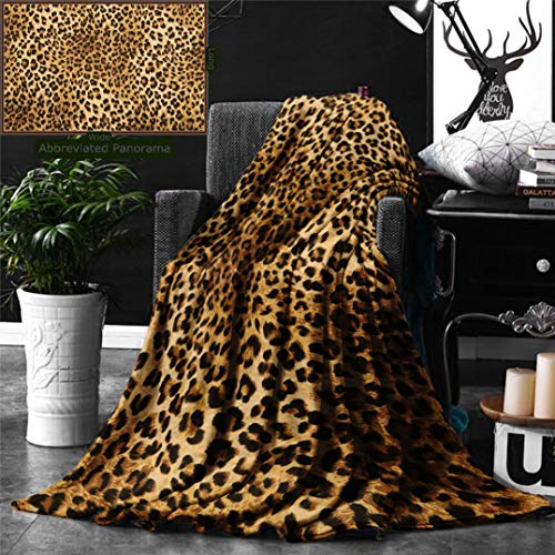 Unique Custom Digital Print Flannel Blankets 0- Brown Leopard Print Animal Skin Digital Printed Wild African Safari Themed Spot Super Soft Blanketry for Bed Couch, Throw Blanket 70 x 50 Inches