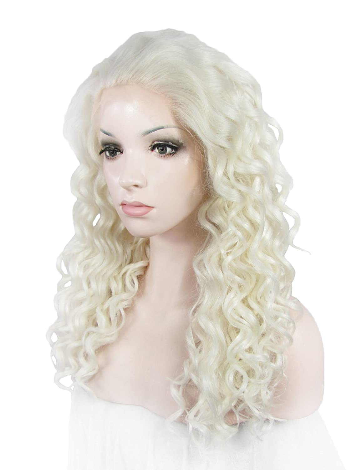Amazon.com : Imstyle Lolita Wig Synthetic Wigs Medium Curly Dairy Queen Cosplay White cospaly Lace Wig : Beauty