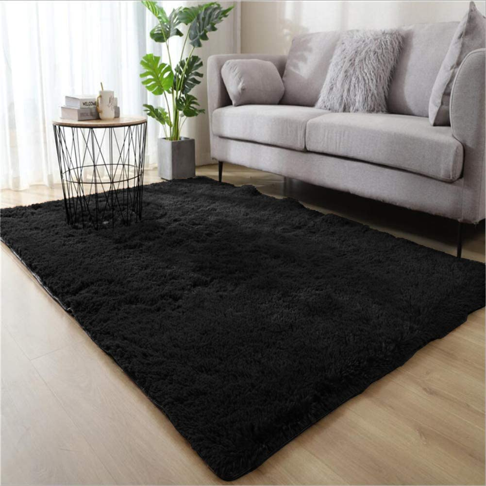 WHOW Ultra Soft Indoor Modern Area Rugs Fluffy Living Room Carpets for Children Bedroom Home Decor Nursery Rug (4'x 5.3', Black)