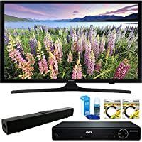 Samsung 50 Full HD 1080p LED HDTV 2015 Model (UN50J5000) with HDMI High Definition DVD Player, Solo X3 Bluetooth Home Theater Sound Bar, 2x 6ft High Speed HDMI Cable & Screen Cleaner for LED TVs