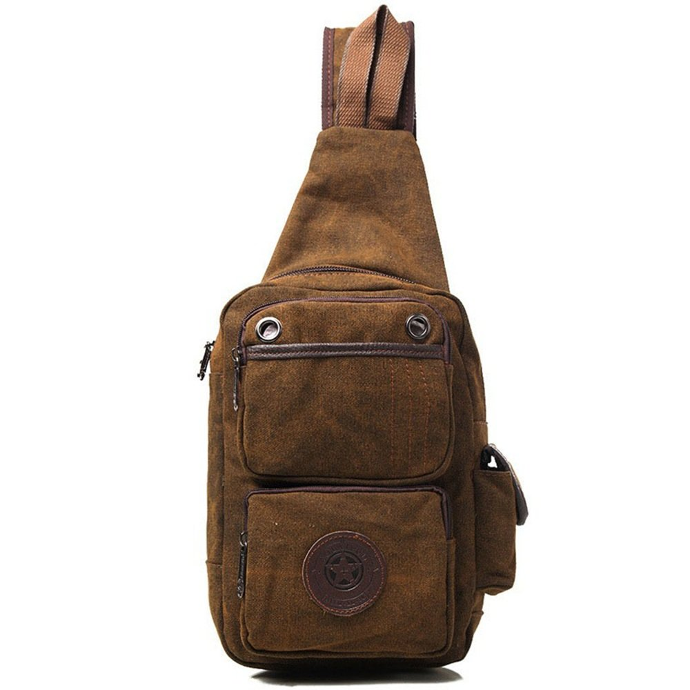 BROWN 20932cm CHESTLKM Chest Bag Canvas Bag Men's Shoulder Bag Large Capacity Messenger Bag Outdoor Sports Bag