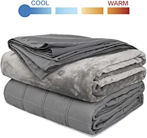 Richgra Weighted Blanket, Premium 2 Duvet Covers with Glass Beads for Hot & Cold Sleepers, 20 lbs for About 180-220 lbs Adults, 60''x 80'', Grey
