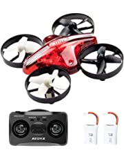 ATOYX Mini Drone, AT-66 RC Drone Niños 3D Flips, Modo sin Cabeza, Estabilización de Altitud, 3 Modos de Velocidad 4 Canales 6-Ejes, Año Nuevo para Niños y Principiantes, Rojo