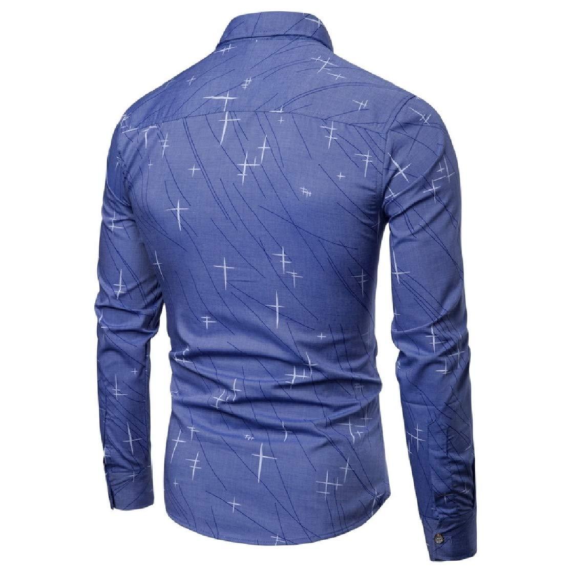 YUNY Mens Comfort Long-Sleeved Business Print Dress Shirt Dark Blue L