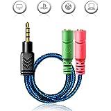 AOSO 3.5mm Audio Klinke Y Kabel- Kopfhörer Splitter Adapter (3.5mm Stereo Klinkenstecker auf 2x 3,5mm Buchse) für Gaming Headset, Xbox One, PS4, Smartphones und Laptop - Blau