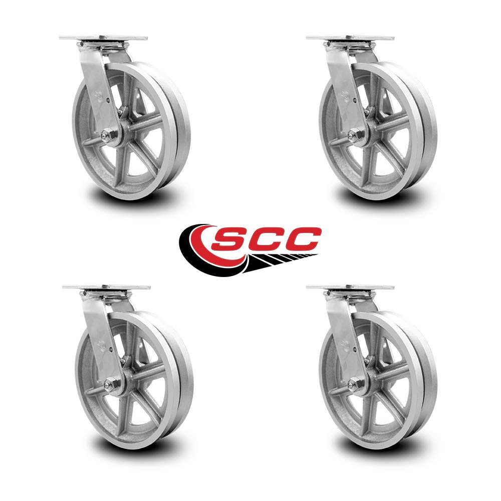 Service Caster - 8'' x 2'' V Groove Semi Steel Wheel Swivel Casters - Set of 4