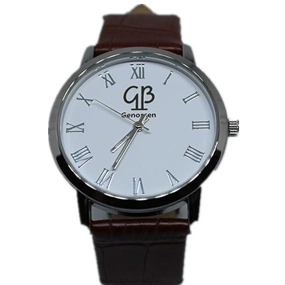 Disfrutar Hombre Marrón banda de cuero Analog Quartz Relojes Luxus elegante Agua Densidad marrón: Amazon.es: Relojes