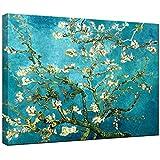 """Wieco Art, stampa su tela con riproduzione del """"Ramo di mandorlo in fiore"""" di Van Gogh, stampa Giclée, decorazione da parete, Blue, 16x12inch (40x30cm)"""