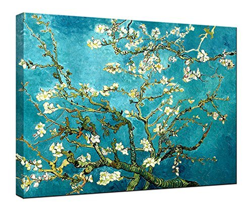 Wieco Art Almond Blossom Modern Framed Floral Giclee Canvas Prints By Van Gogh Famous Oil Paintings Reproduction Flowers Pictures on Canvas Wall Art Ready to Hang for Bedroom Home Decorations