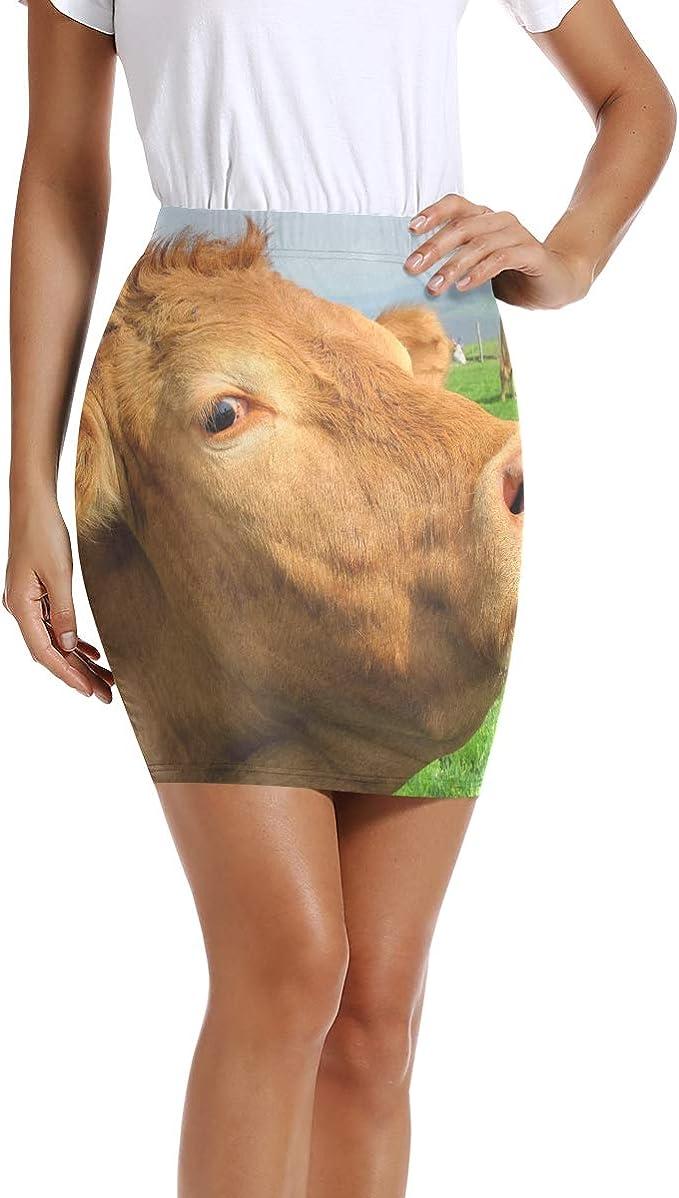 LUPINZ Mini Falda Ajustada para Mujer con diseño de Vaca, Color ...