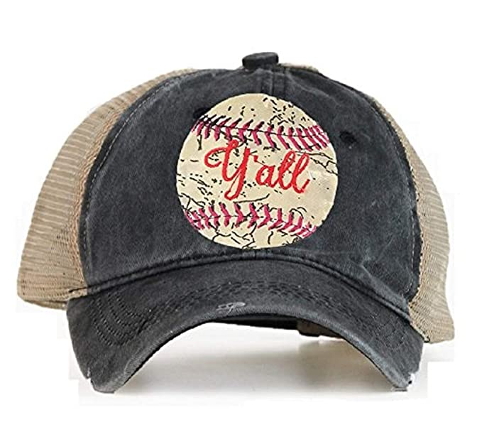 Southern Junkie High Ponytail Bun Trucker Mesh Vented Baseball Hat Cap ( Baseball Yall Black) df1fd3c4ebe