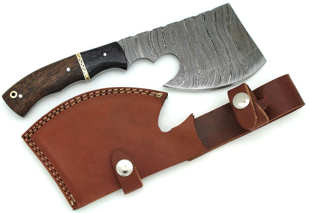 Wild Turkey Handmade Damascus Steel Collection Two Tone Wood Handle Hatchet w/ Leather Sheath Outdoors Hunting Camping Axe