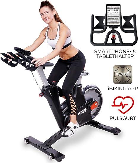 Miweba Sports MS600 Pro - Bicicleta estática profesional, control mediante aplicación, freno magnético de corriente vertebral, correa de pulso: Amazon.es: Deportes y aire libre
