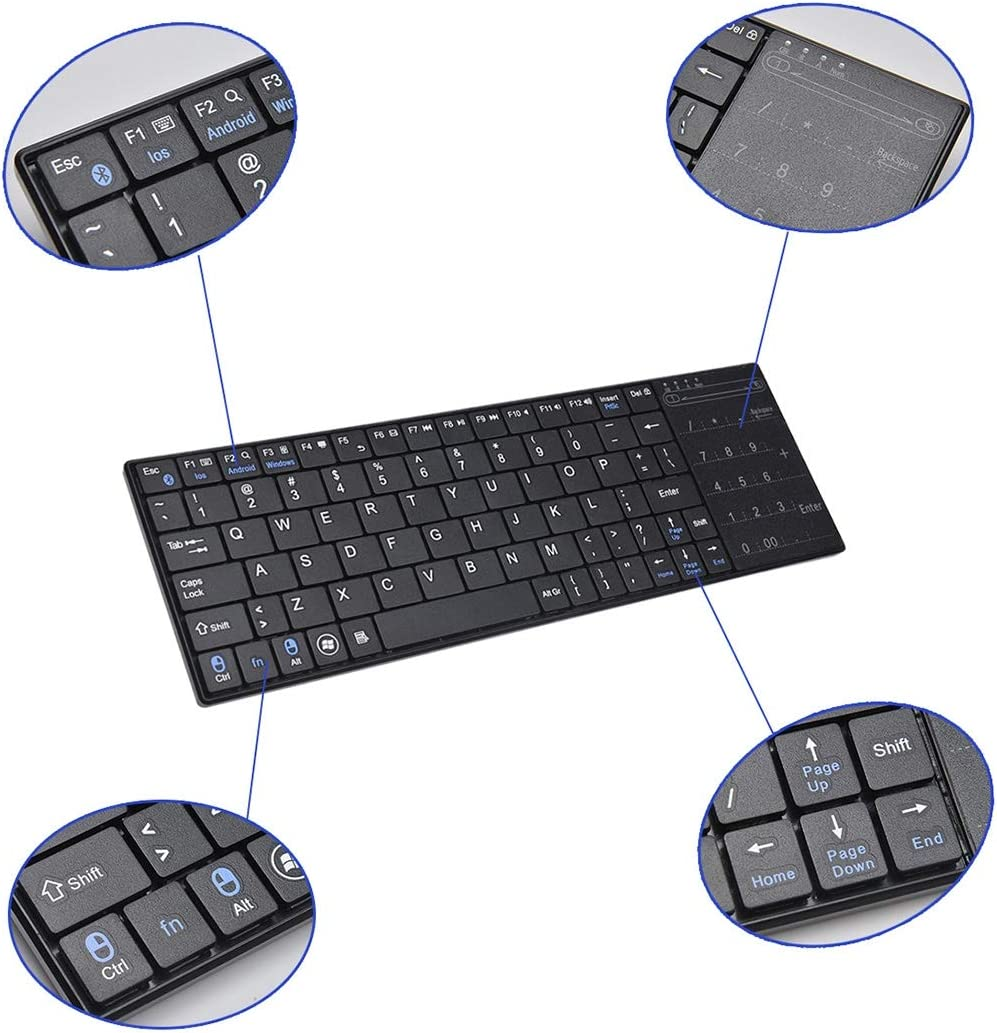 Color : Black DUANDETAO K-07 ABS Wireless Chargeable Bluetooth Touch Keyboard Black