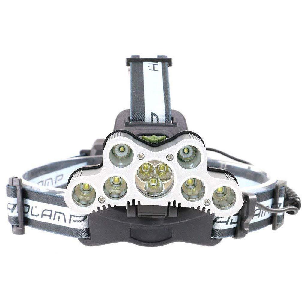KLSHW T6 Super Bright 6000 Lumens Headlights Waterproof Flashlight Outdoor Activities 6 Modes Rechargeable LED Headlights 7X XML