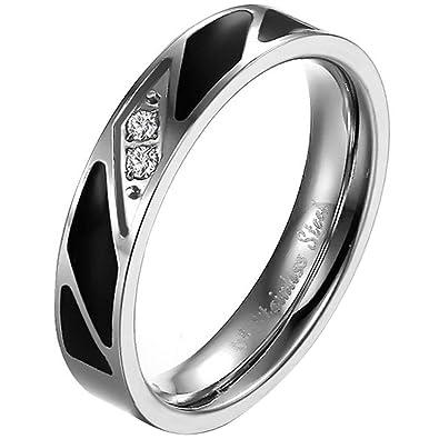 JewelryWe Anillo de la joyería acero inoxidable esmalte ...