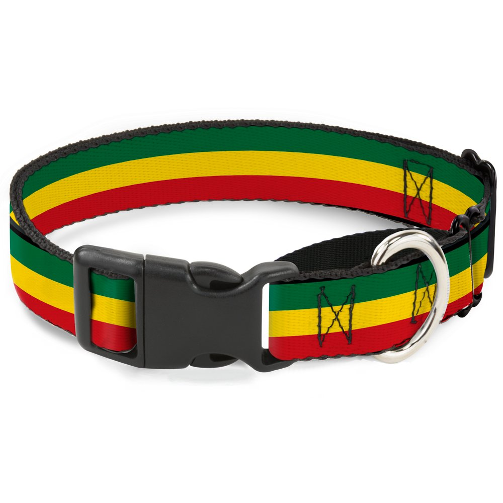 Buckle-Down Rasta Martingale Dog Collar, 1  Wide-Fits 11-17  Neck-Medium