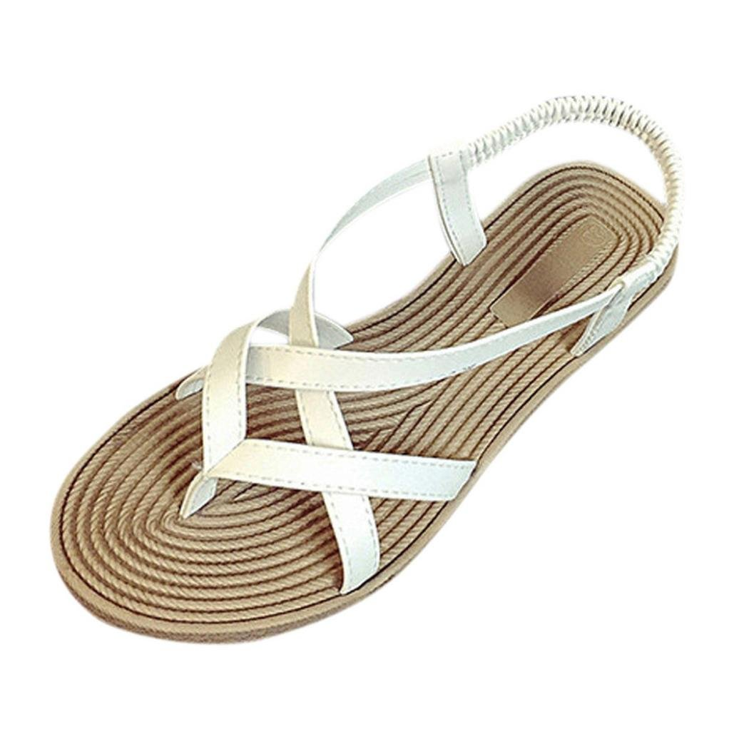 CLEARANCE SALE! MEIbax frauen flach schuhe verband bouml;hmen freizeit lady sandalen peep - toe - outdoor - schuhe (40, Weiszlig;)40|Wei?