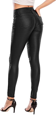 Designer Inspired 100/% Genuine Premium  Leather Legging Black with zipper